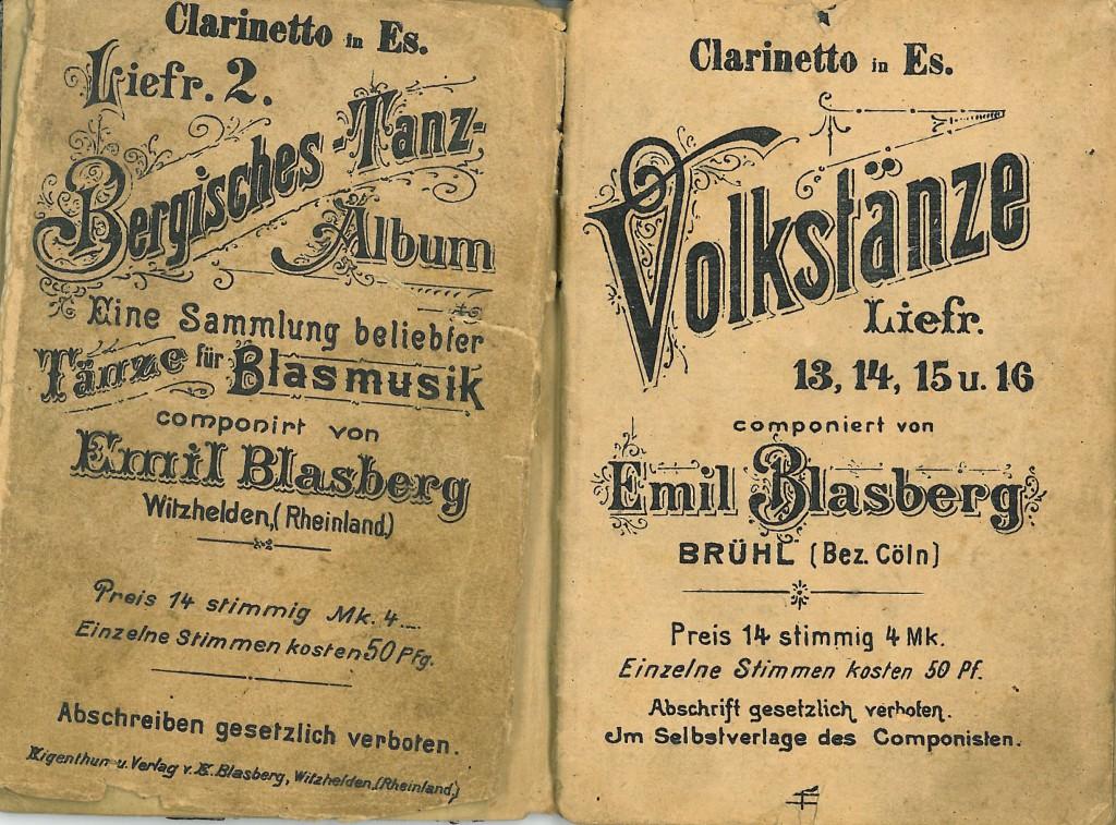 Links: Bergisches Tanzalbum aus der Zeit vor Blasbergs Hochzeit (Verlagsort: Witzhelden), Rechts: Volkstänze aus der Zeit nach 1909 (Brühl).